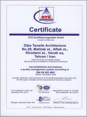 Certificate of Quality Management ISO 9001