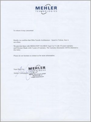 Certificate of MEHLER official client