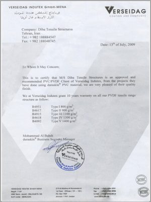 Certificate of VERSEIDAG official client